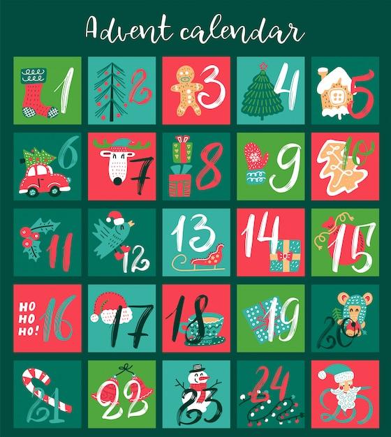 Kerstmis adventskalender met hand getrokken illustraties voor december dagen. Premium Vector