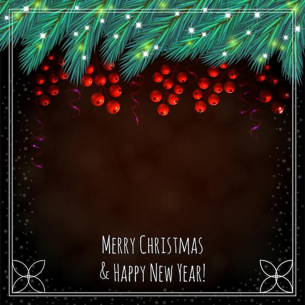 Kerstmis bruine achtergrond met bessen Premium Vector