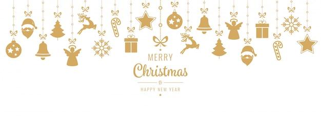 Kerstmis die het gouden ornamentelementen hangen geïsoleerd hangen Premium Vector