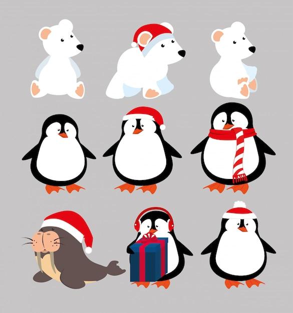 Kerstmis dieren met pictogrammen instellen Gratis Vector