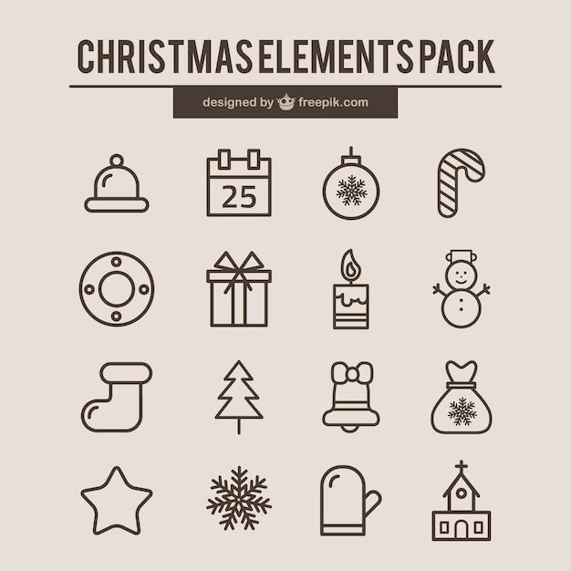 Kerstmis element iconen Premium Vector