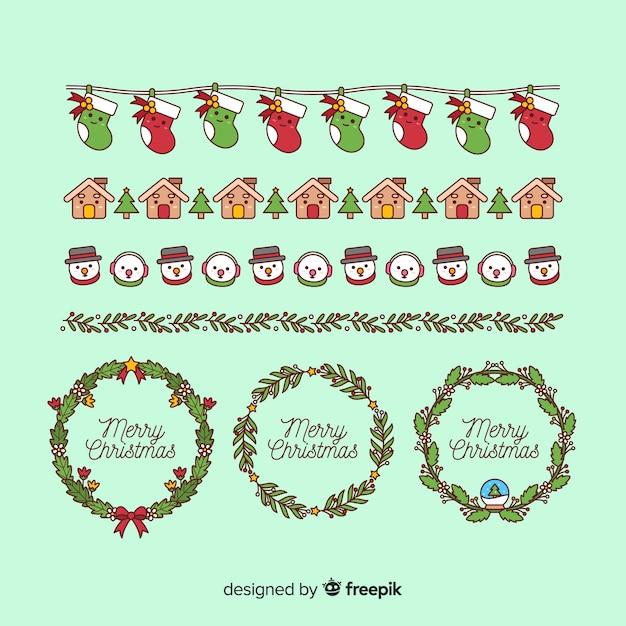 Kerstmis elementen kaders en randen Gratis Vector