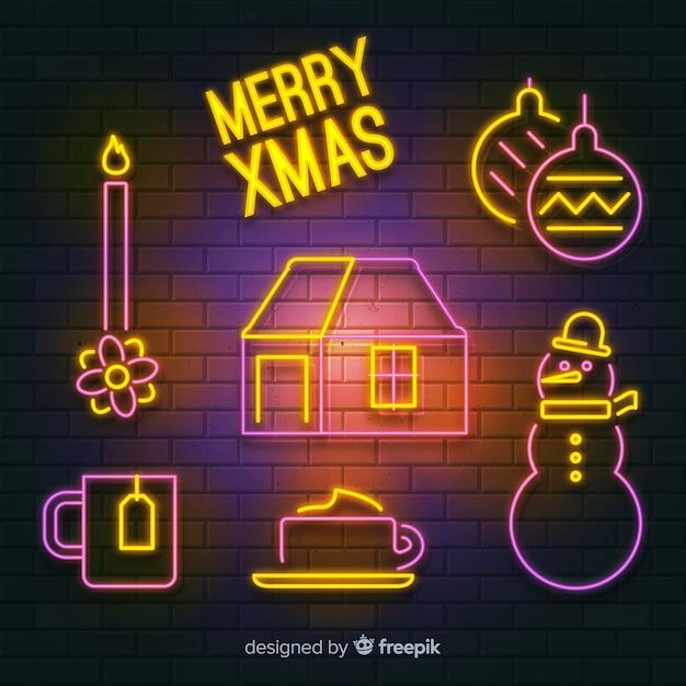 Kerstmis elementen neon teken Gratis Vector