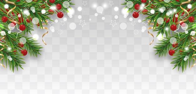 Kerstmis en gelukkig nieuwjaar grens met kerstboomtakken Premium Vector