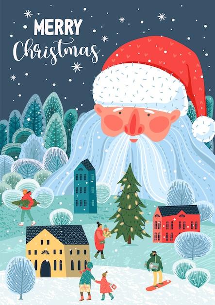 Kerstmis en gelukkig nieuwjaar illustratie. . Premium Vector