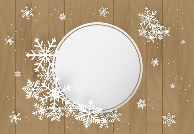 Kerstmis en gelukkig nieuwjaar vector achtergrond met sneeuwvlok Premium Vector