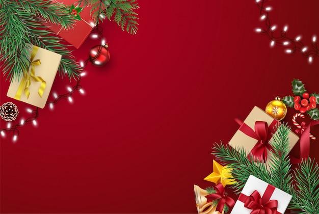 Kerstmis en gelukkig nieuwjaar wenskaart samenstelling van elementen met kerstversiering. Premium Vector