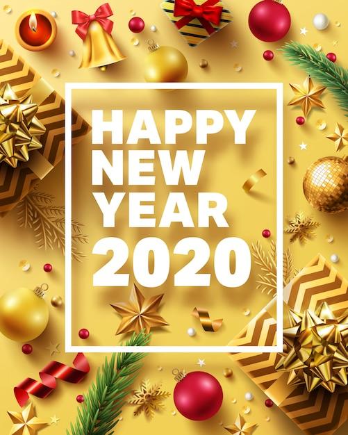 Kerstmis en nieuwjaar 2020 golden Premium Vector