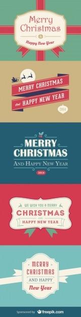 Kerstmis en nieuwjaar kaarten Gratis Vector