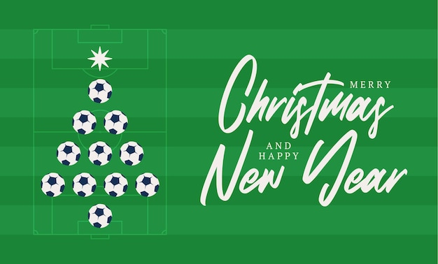 Kerstmis en nieuwjaar platte cartoon wenskaart Premium Vector