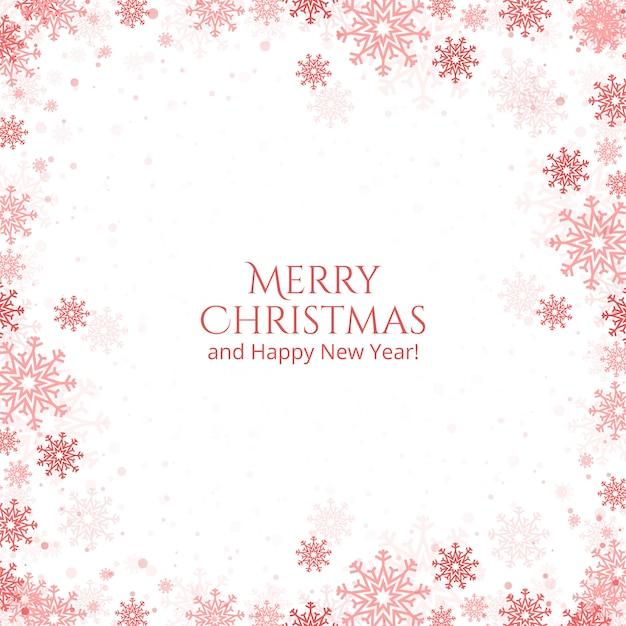 Kerstmis en nieuwjaar sneeuwvlokken kaart Gratis Vector