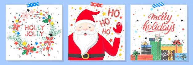 Kerstmis en nieuwjaar typografie. set feestdagen kaarten met groeten, santa, geschenkdozen, krans, sneeuwvlokken en sterren. Premium Vector