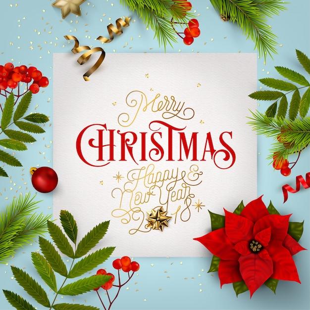 Citaten Kerst En Nieuwjaar : Kerstmis en nieuwjaar typografische achtergrond met kerst