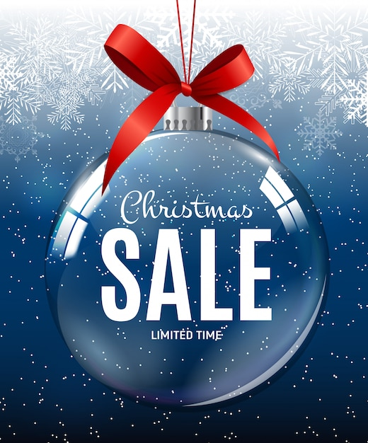 Kerstmis en nieuwjaar verkoop cadeaubon, kortingsbon sjabloon Premium Vector