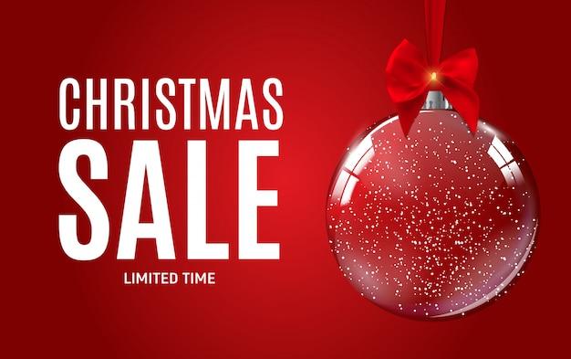 Kerstmis en nieuwjaar verkoop cadeaubon, kortingsbon vector Premium Vector