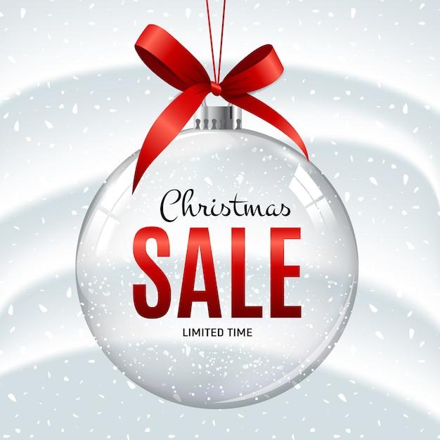Kerstmis en nieuwjaar verkoop geschenk bal banner Premium Vector