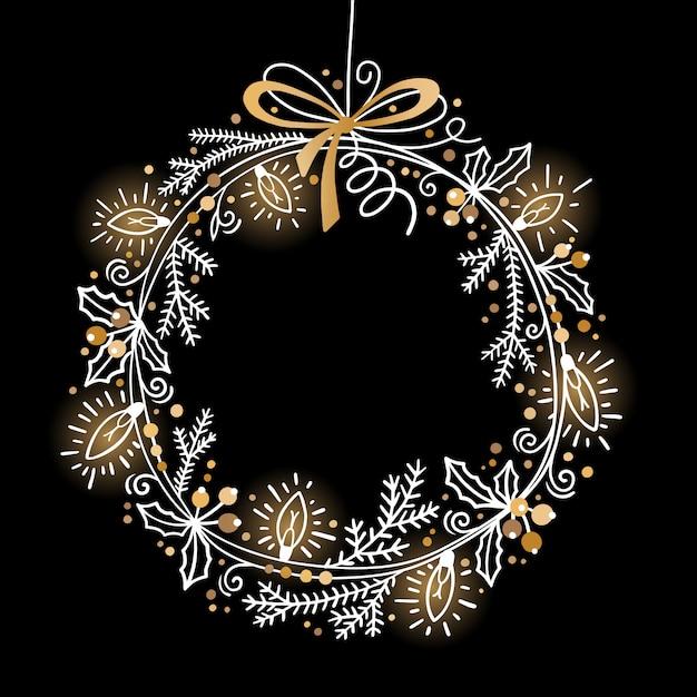 Kerstmis feestelijke krans van dennentakken, hulst, slingerlichten Premium Vector