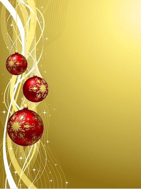 Kerstmis gouden achtergrond met ballen Gratis Vector