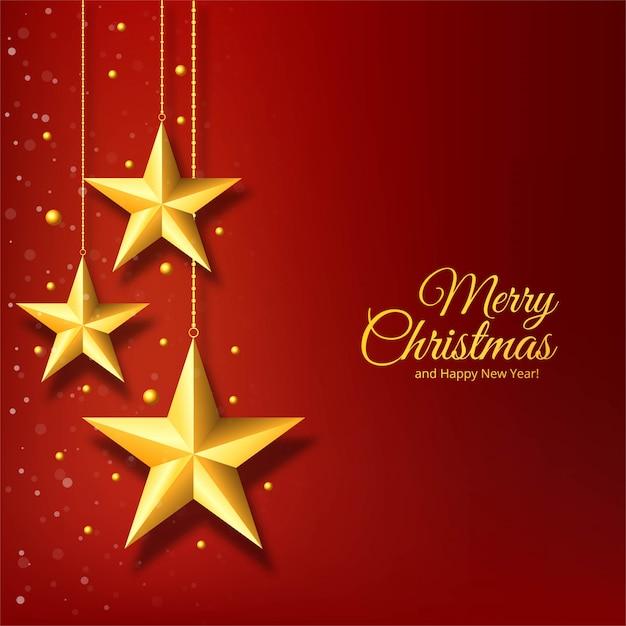 Kerstmis gouden ster op rode achtergrond Gratis Vector