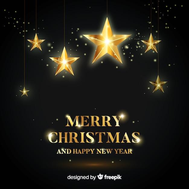 Kerstmis gouden sterren achtergrond Gratis Vector