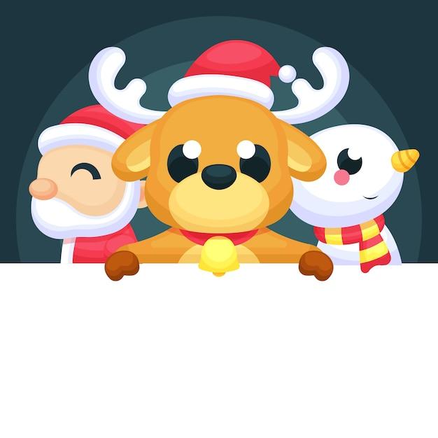 Kerstmis karakter bedrijf leeg banner Gratis Vector