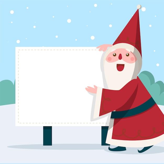 Kerstmis karakter kerstman bedrijf leeg banner Gratis Vector