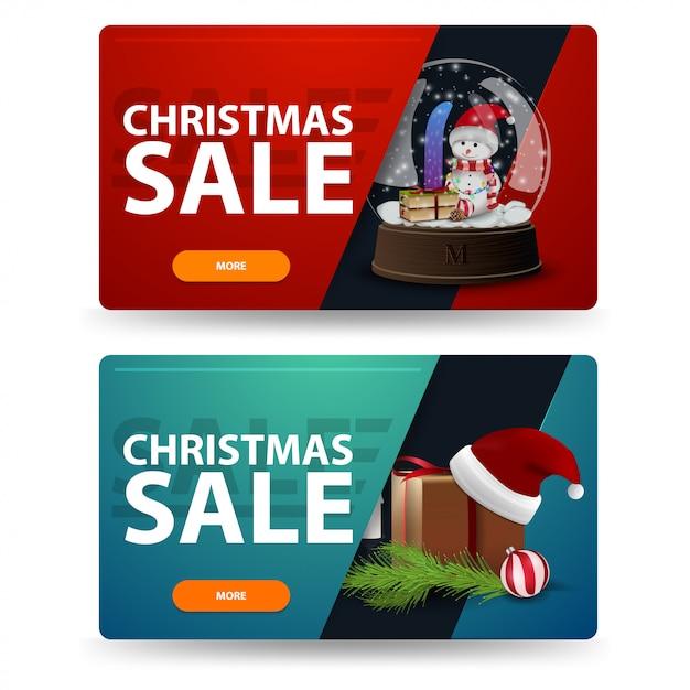 Kerstmis kortingsbanners met geschenken geïsoleerd op een witte achtergrond. rode en groene sjablonen Premium Vector