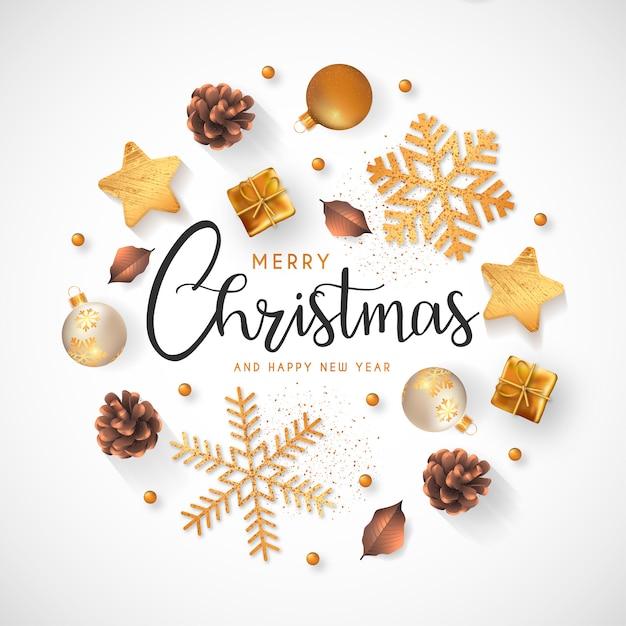 Kerstmis met gouden decoratie Gratis Vector