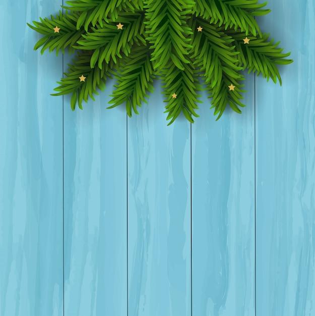 Kerstmis met houten achtergrond Premium Vector