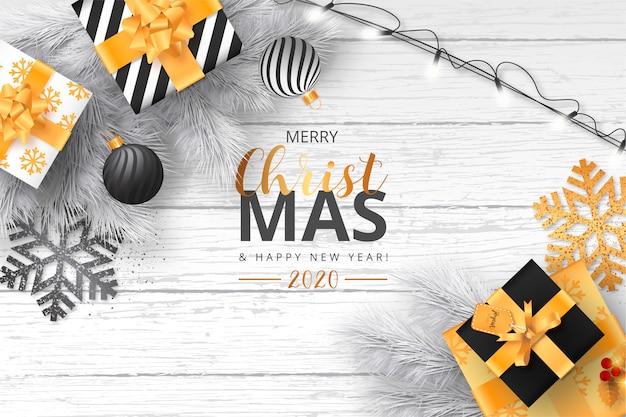 Kerstmis met verlichting en decoratie Gratis Vector