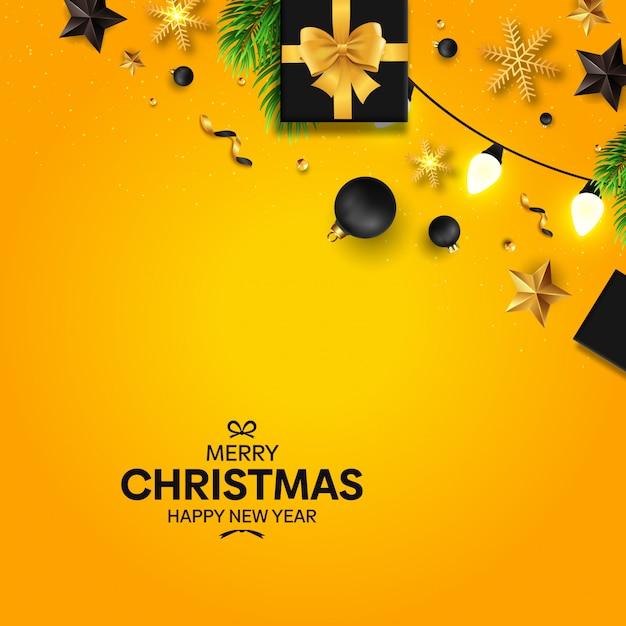 Kerstmis met zwarte en gele decoratie Premium Vector