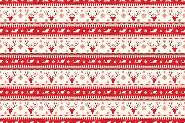 Kerstmis naadloos patroon in rode kleur Premium Vector