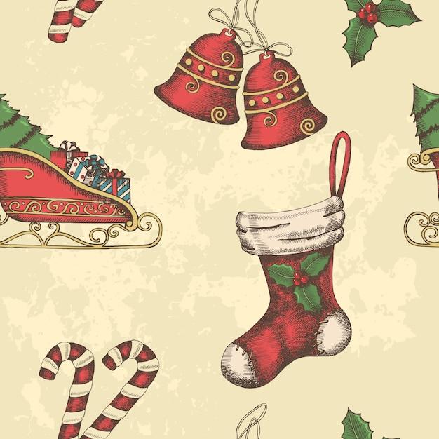Kerstmis naadloos patroon met hand getrokken klokken, de slee van santa, snoep, hulst en sok. Premium Vector
