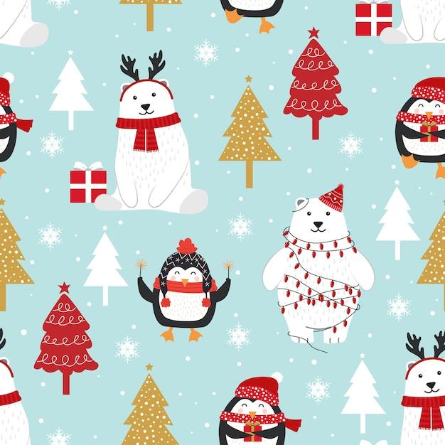 Kerstmis naadloos patroon met ijsbeer Premium Vector