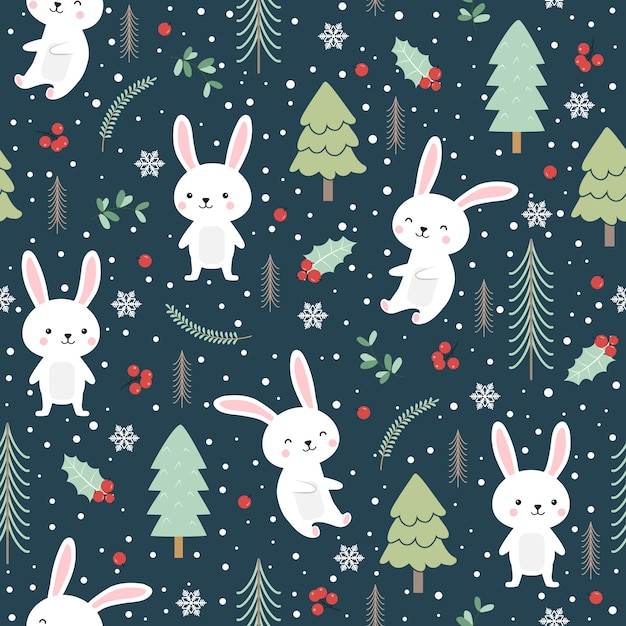 Kerstmis naadloos patroon met konijntje Premium Vector