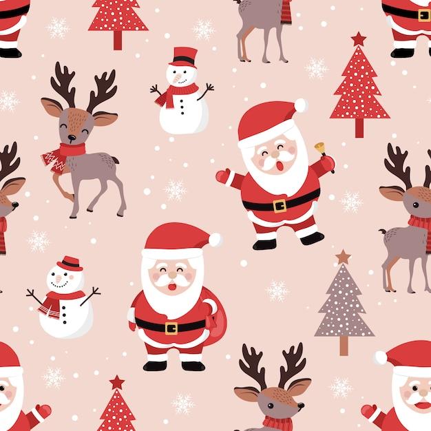 Kerstmis naadloos patroon met santa en rendier Premium Vector