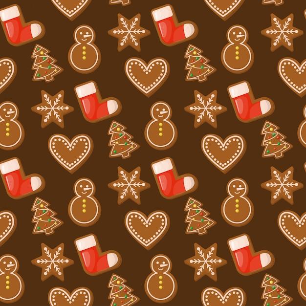 Kerstmis naadloos patroon van het peperkoekhuis Premium Vector