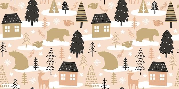 Kerstmis naadloos patroon voor decoratie Premium Vector