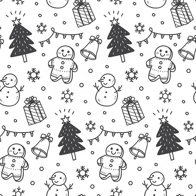 Kerstmis naadloze achtergrond in doodle stijl Premium Vector