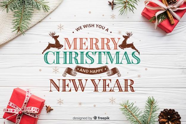Kerstmis & nieuwjaar achtergrond Gratis Vector