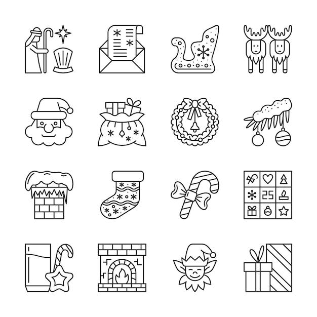Kerstmis, nieuwjaar lijn iconen set, wintervakantie lineaire symbool, overzichtsteken, bewerkbare penseelstreek. Premium Vector