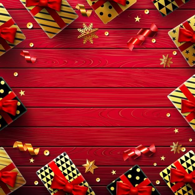 Kerstmis of nieuwjaarachtergrond met uitstekende rode houten achtergrond Premium Vector