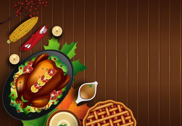 Kerstmis of thanksgiving kalkoen op rustieke houten tafel achtergrond met copyspace Premium Vector