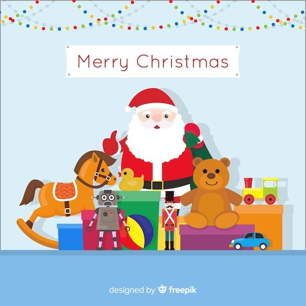 Kerstmis speelgoed achtergrond Gratis Vector