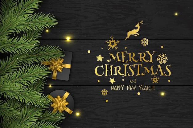 Kerstmis vectorsamenstelling op donkere houten achtergrond Premium Vector