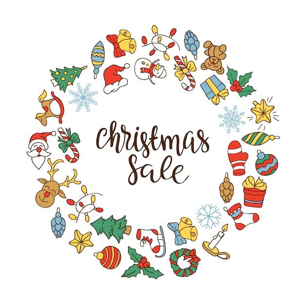 Kerstmis verkoop achtergrond met plat pictogrammen. Gratis Vector