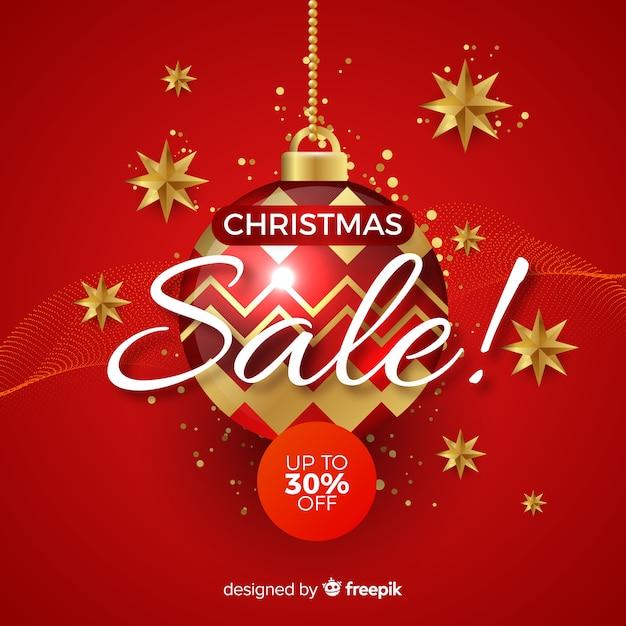 Kerstmis verkoop banner realistisch ontwerp Gratis Vector