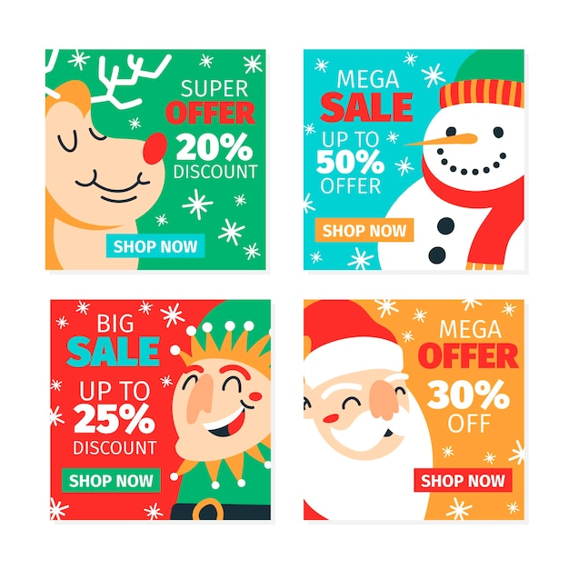 Kerstmis verkoop collectie instagram post Gratis Vector