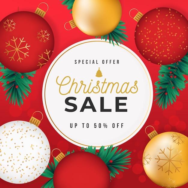 Kerstmis verkoop concept met gouden achtergrond Gratis Vector