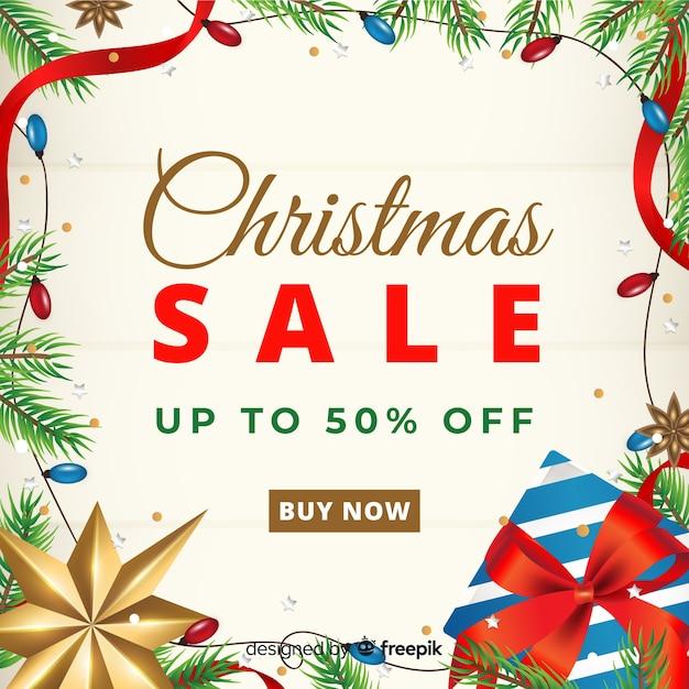 Kerstmis verkoop elementen frame achtergrond Gratis Vector